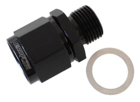 <strong>Male M14 x 1.5 to Female -10AN Swivel Adapter </strong><br />Supplied With Washer, Black Finish