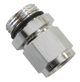 <strong>Male -8 ORB to Female -6AN Swivel Adapter</strong> <br />Silver Finish