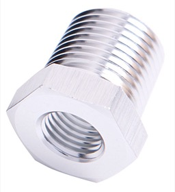 <strong>NPT Pipe Reducer 1/4&quot; to 3/8&quot; </strong><br />Silver Finish