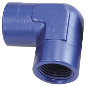 "<strong>90° NPT Female Adapter - 1/2""</strong> <br />Blue Finish"