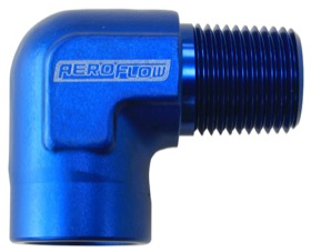 "<strong>90° NPT Female to Male NPT Fitting 1/4"" </strong><br />Blue Finish"