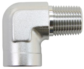 "<strong>90° NPT Female to Male NPT Fitting 1/4"" </strong><br />Silver Finish"