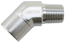 <strong>45&deg; NPT Female to Male NPT Fitting 3/8&quot; </strong><br />Silver Finish