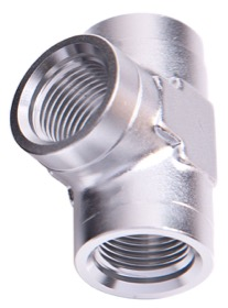 <strong>NPT Female Pipe Tee 3/8&quot;</strong><br /> Silver Finish