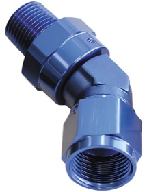 "<strong>45° NPT Swivel to Male AN Flare Adapter 1/4"" to -8AN</strong> <br /> Blue Finish"