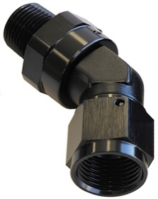 <strong>45&deg; NPT Swivel to Male AN Flare Adapter 3/8&quot; to -10AN</strong> <br />Black Finish