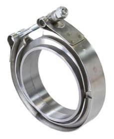 <strong>Steel V-Band Clamp</strong><br />4&quot; I.D, X2 Weld-On Rings & X1 S/S Clamp