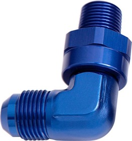 <strong>90&deg; NPT Swivel to Male AN Flare Adapter 1/8&quot; to -6AN</strong> <br /> Blue Finish