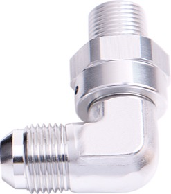 "<strong>90° NPT Swivel to Male AN Flare Adapter 3/8"" to -8AN</strong> <br /> Silver Finish"