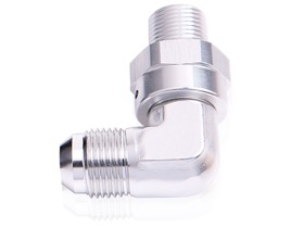 <strong>90&deg; NPT Swivel to Male AN Flare Adapter 3/4&quot; to -16AN</strong> <br />Silver Finish