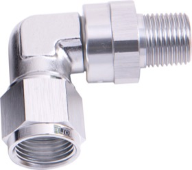 "<strong>90° Male NPT to Female AN Adapter 3/8"" to -8AN </strong><br /> Silver Finish"