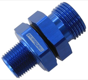 "<strong>ORB to NPT Coupler </strong><br /> -10 ORB to 3/8"" NPT, Blue Finish"
