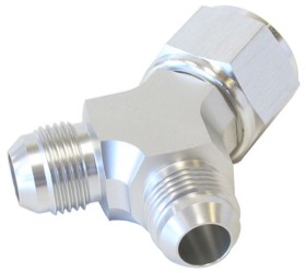 <strong>Y-Block with Female Swivel -10AN Inlet to 2 x -8AN Outlets</strong><br /> Silver Finish