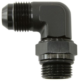<strong>90° ORB Swivel to Male Flare Adapter -6AN to -6AN</strong><br /> Black Finish