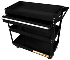 <strong>Workshop Trolley </strong><br /> 3 Tier with lockable drawer, and wheels, Black Powder Coated Finish