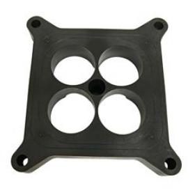 Carburetor Spacer, 4-hole, Phenolic Plastic, Black, 1.00 in. Thick, 4-Barrel, Square Bore, Each
