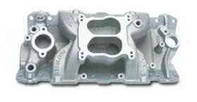 Edelbrock Performer Air-Gap Intake Manifold, Performer Air Gap, Dual Plane, Aluminum, Natural, Square/Spread Bore, Chevy, Small Block,Each