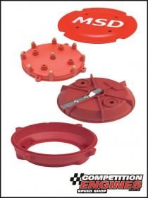 MSD-7445  MSD Pro-Cap, Cap-A-Dapt Kit, Fits MSD Distributors, Cap and Rotor, Red, Male/HEI, Stainless Steel Terminals, Clamp-Down