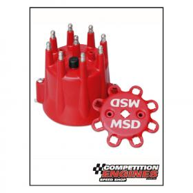 MSD-8433  MSD Distributor Cap With HEI Terminals and Spark Plug Lead Retainer,  GM, V8 (Red)
