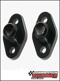 Meziere WP8116ANS, Block Adapters, Chev Small Block, -16AN Male Fitting, O-Ring Seal, Black Anodized Finish