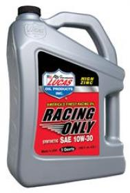 Lucas Racing Only High Performance Motor Oil - Race Only, Synthetic, 10W30, 5 qts.,