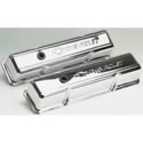 Proform Stamped Steel Valve Covers Tall Chrome With Chevtolet Logo Suit SBC